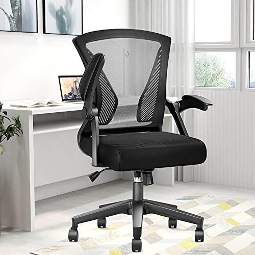 Schreibtischstuhl – Ergonomischer Bürostuhl mit hochklappbarer Armlehne & Lendenwirbelstütze & höhenverstellbar, moderner Konferenz-/Chefsessel (schwarz)