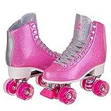 Skate Gear Sparkly Retro Quad Roller Skates (Glitter Pink, Women's 8 / Men's 7)