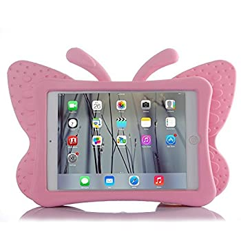 HCHA New iPad 9.7 2017 Case for Kids iPad Air Kids Cases Light Weight Shock Proof Protection Cases Protective Butterfly Cases Cover for New iPad 2017 Apple iPad Air/Air 2 /iPad Pro 9.7 Inch  Pink