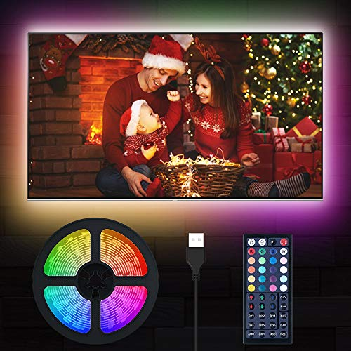 LED TV Beleuchtung, MustWin 5M RGBW Hintergrundbeleuchtung für 50-75 Zoll USB LED Strip mit RF-Ferbedienung, Dimmbar 6 Modi 6000K Kaltweiß DIY mit Memoryfunktion für Weihnachten Deko Fernseher PC