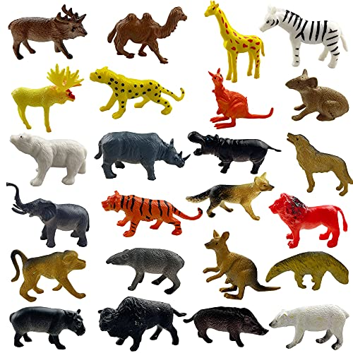 PPXMEEUDC 24 PCS Wild Zoo Jungle Animal Toy Set Learning Party Favors Toys for Toddlers Kids Christmas Birthday Plastic Animal Figures Preschool Pack