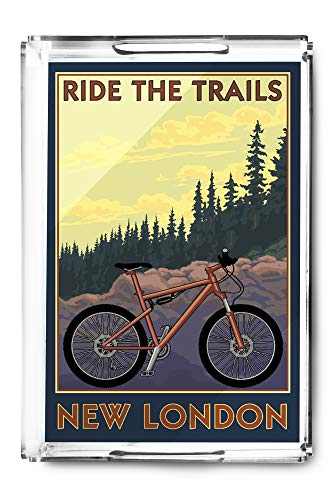New London, Connecticut - Ride the Trails - Mountain Bike Scene 103120 (Acrylic Serving Tray)