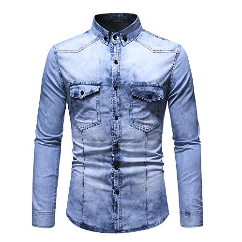 Jinyuan Frühling Herbst Herren gewaschenes Vintage Jeanshemd Langarm Casual Fashion Plus Size Jeanshemd Tops Bluse mit Tasche Hell blau M