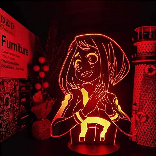 Luz de noche Lámpara de ilusión 3D Anime Hero Academia LED Touch para niños Lazo de Lona Lámpara de decoración 16 Colores Remoto