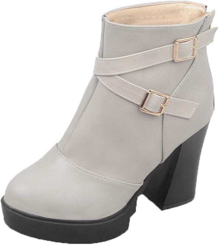 WeiPoot Women's Solid Pu High-Heels Zipper Closed-Toe Boots, EGHXH108503