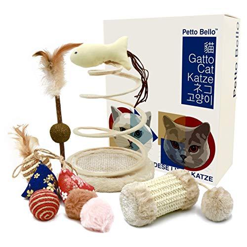 Petto Bello Geschenkbox mit 9-teiliges Set aus Katzenspielzeug, Katzenminze, Fischspielzeug, Maus Kissen,Federspielzeug, Ball für Katzen, cat Toy, Katzenspielzeug-Set, Katzen Spielsachen