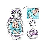 GNOCE Personalisiert Foto Charms Babywiege mit Amethyst S925 Charm Beads Foto Charm Fit Armband und Halskette unvergessliche Geschenk