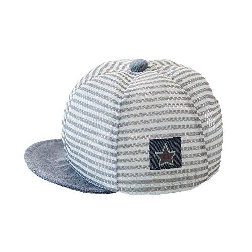 Gorra de béisbol para bebé recién nacido, de algodón, con diseño de rayas, para niños y niñas, de malla, para primavera, con protección UV, gorra ajustable para bebés de 3 a 12 meses gris