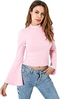 Women's Long Bell Sleeve Turtleneck Blouse Solid Lightweight Soft Knit Tops Pullover