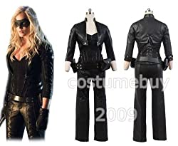 Costumebuy2009 Green Arrow Black Canary Sara Lance Cosplay Pleather Outfit Costume