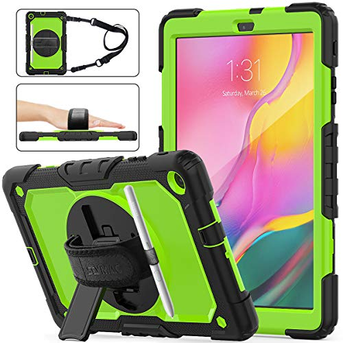 SEYMAC stock Case for Galaxy Tab A 10.1 T510/T515/T517, [Full-Body] Shock-Proof Case with 360 Degrees Rotating Stand [Screen Protector] Hand Strap for Galaxy Tab A 10.1 2019 (Green+Black)