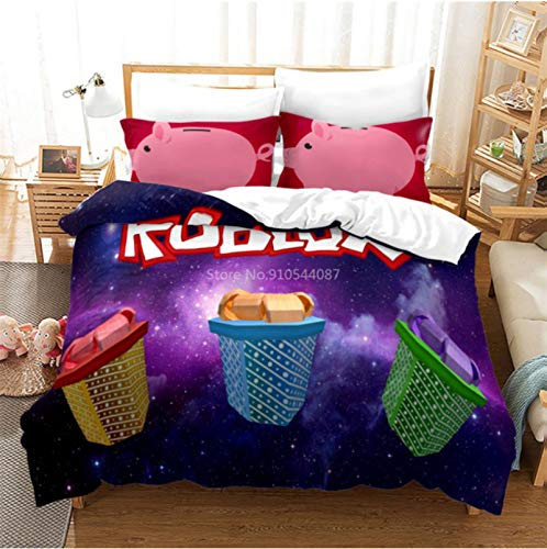 Hanyyj Duvet Cover 3D Printing Roblox Pattern Duvet Cover With Pillow Cover Game Bedding 172X218Cm