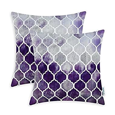 CaliTime Pack of 2 Cozy Throw Pillow Cases Covers for Couch Bed Sofa, Manual Hand Painted Colorful Geometric Trellis Chain Print, 18 X 18 Inches, Main Grey Purple Eggplant