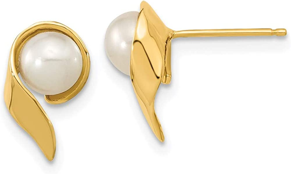 14k 5-6mm White Button Freshwater Cultured Pearl Post Earrings 11.45mm 6.87mm style XF606E