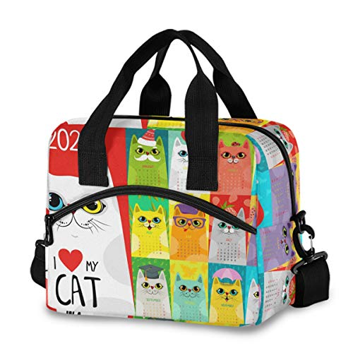 Bolsa de almuerzo aislada reutilizable refrigerador – Calendario 2020 con lindos gatos fiambrera ajustable correa de hombro para escuela, oficina, picnic, adultos, hombres y mujeres
