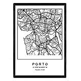 Nacnic Drucken Stadtplan Porto nordischen Stil schwarz und