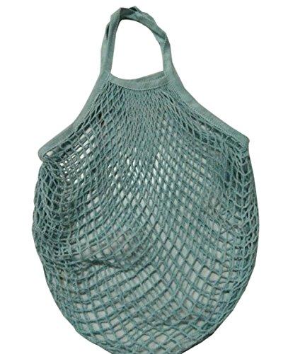 Carolilly Sac à Provision des Fruits et Légumes Pliage en Filet Réutilisable (Bleu-Vert, Taille: 32 * 35cm)