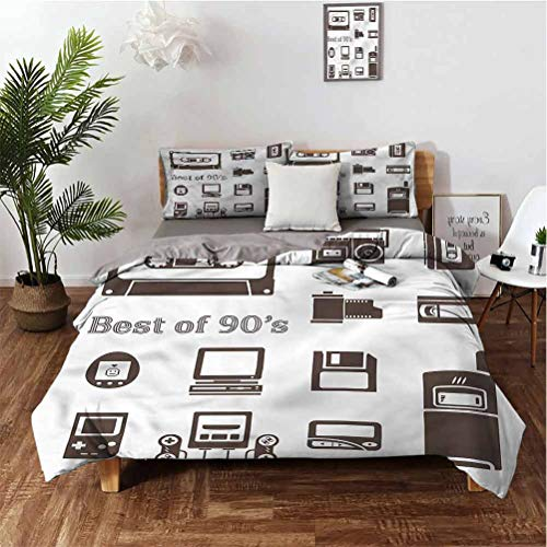 SUZM 90s 3-Piece Set of 100% Washed Microfiber 90s Nostalgia Game Suitable for Any Bedroom or Guest Room Queen(90''x90'') Pillowcases 2620'