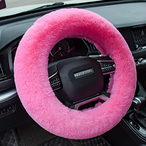 Valleycomfy Fluffy Steering Wheel Cover for Women Fuzzy Steering Wheel Cover Winter Warm Plush Car Wheel Cover Universal Fit 15 Inch Pink