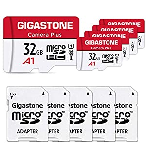 Gigastone 32GB 5-Pack Micro SD Card, Camera Plus, Nintendo-Switch Compatible, High Speed 90MB/s, 4K Video Recording, Micro SDHC UHS-I A1 Class 10