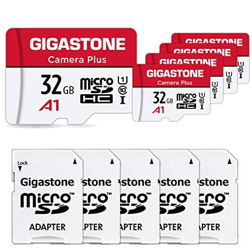 Gigastone Carte Mémoire 32 Go Lot de 5 Cartes, Caméra Plus Série, Vitesse allant jusqu'à 90 Mo/s. idéal pour Full HD Video Gopro Drone Caméra, U1 Carte Micro SDHC avec Mini Coque et Adaptateur SD.