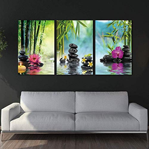 SXXRZA Kunstplakat 3 Stück 40x60cm Kein Rahmen Zen Bambus Weiße Kerze Poster Malerei Leinwanddrucke Kunst Wandbilder...