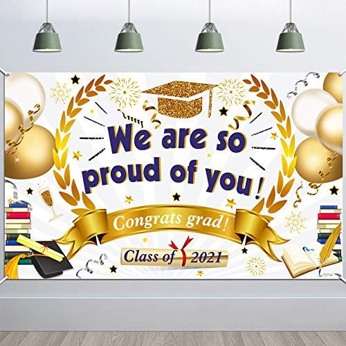 HOWAF Groß We Are So Proud of You Banner für Abschluss Deko 2021 Abi Abitur Deko, Graduierung Hintergr& Stoff Banner Bestandene Prüfung Dekoration Foto Requisit Glückwunsch für Bachelor Master Arzt