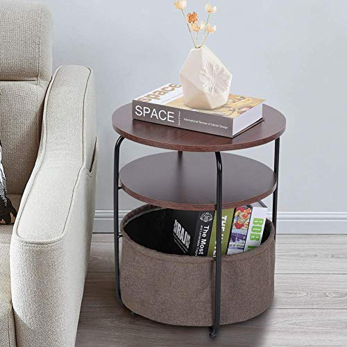 Greensen Side Table Wooden Bedside Table Round Sofa Side Table 3 Levels Telephone Table Coffee Table with Storage Basket Small Coffee Table Modern Mobile Storage Table for Living Room Bedroom Brown