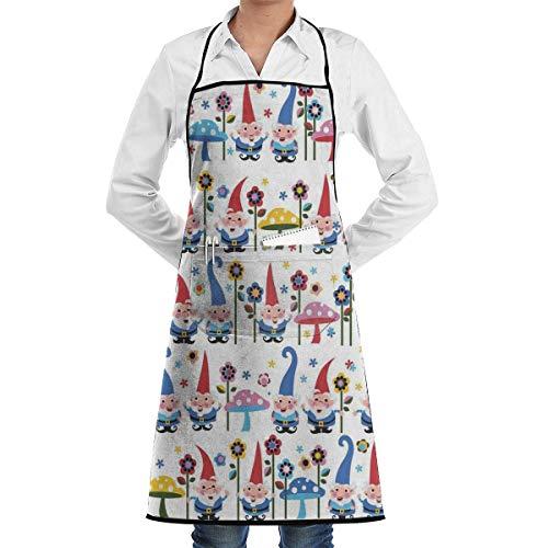 Delantal de gnomos de encaje, adulto, para hombre, para mujer, chef, ajustable, poliéster, largo, negro, para cocinar, delantales de cocina, babero