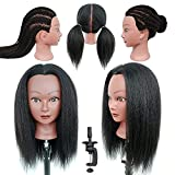 Real Hair Head Mannequins Afro Training Head with Kinky Straight Hair Doll Head for Hair Styling Cosmetology Manikin Head for Braiding Practice Head for Hairdresser Stylists Kids Beauty Schools