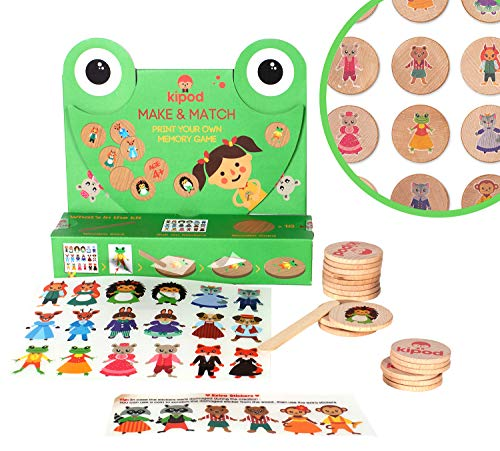 Kipod Toys DIY Wooden Matching Game for Kids Ages 37yearold  Kids Crafts kit for Girls and Boys to Create Their Own Memory Game  Unique Scratch Art Match Game – Develops Educational Creativity