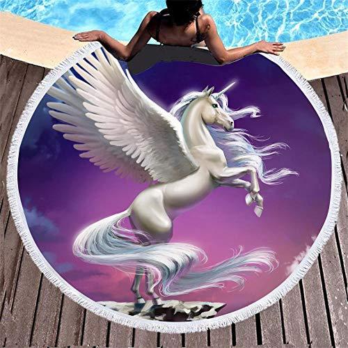 BCDJYFL 3D Toalla De Playa Unicornio Manta De Picnic Portátil Ligera Resistente Picnic Y para Actividades Al Aire Libre De Viaje Camping.-Diámetro: 150Cm