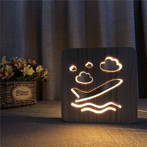 Allamp Norte de Europa Las nubes de avión de madera USB luz de la noche hueco 3D decorativo creativo LED lámpara de mesa Sala de cumpleaños 19 * 19cm de escritorio del dormitorio de los niños simple r