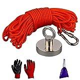 MUTUACTOR Imanes de pesca 150 kg de fuerza de tracción, imanes de neodimio N52 con cuerda duradera de 20 m (66 pies), para pesca y recuperación magnética con guantes y bolsa