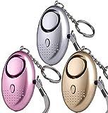 Persönlicher Alarm Taschenalarm 3 Stücke 140 dB Safesound Personal Alarm mit Taschenlampe Schlüsselanhänger Panikalarm Selbstverteidigung Sirene für Kinder, Mädchen, Frauen, Senioren U UZOPI