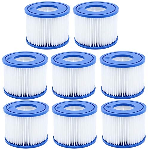 Mscomft Cartucho de filtro de repuesto para Bestway VI, para piscina, jacuzzi, Miami-BW54123, Vegas-BW54112, Palm Springs-BW54129, Monaco-BW54113 (8 filtros)