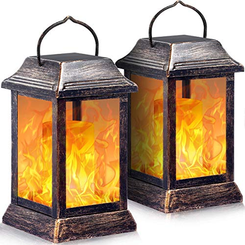 TomCare Solar lights Metal Flickering Flame Solar Lantern Outdoor Hanging