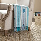 Amazon Brand – Stone & Beam Contemporary Stripes and Lines Throw Blanket - 60 x 50 Inch, Blue