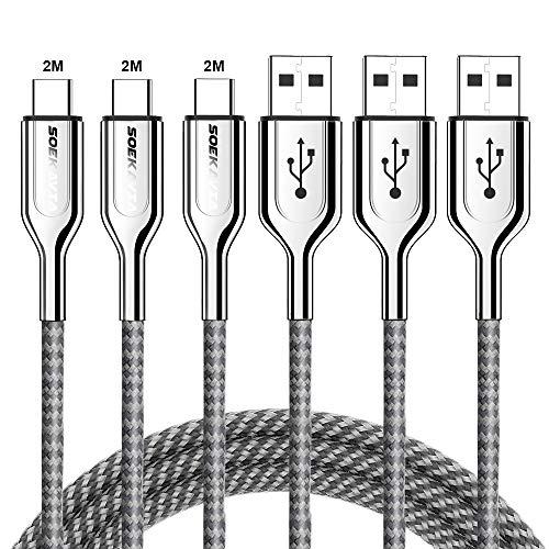 【2021最新版】USB Type C ケーブル 充電ケーブル SOEKAVIA 【2m*3/3年間保証】 USB-C & USB-A 3.0 ケーブル Xperia/Galaxy/LG/iPad Pro MacBook その他 Android 等 USB-C機器対応 3A急速充電 480Mbps高速データ転送 2M+2M+2M 三本セット