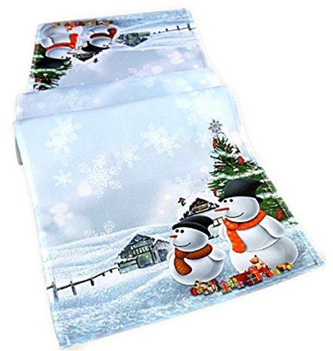 Tischläufer weiß bunt 40 x 140 cm Schneemänner Weihnachtsmotiv Weihnachtstischdecke Tischdecke Weihnachtsdeko