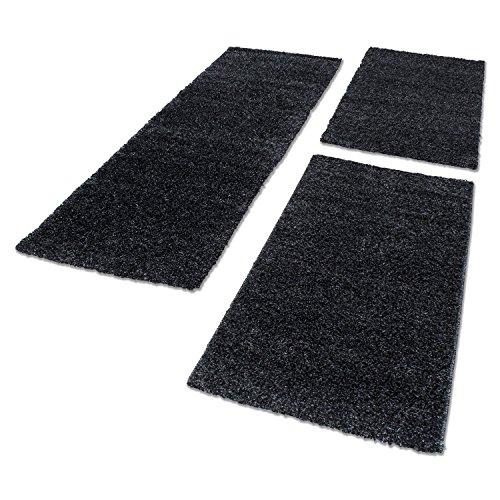 Bettumrandung Hochflor Shaggy Läufer Langflor Teppich 3 Tlg. Läuferset 1500, Maße:2x 60x110 cm / 1x 80x150 cm, Farbe:Anthrazit (Anthrazit)