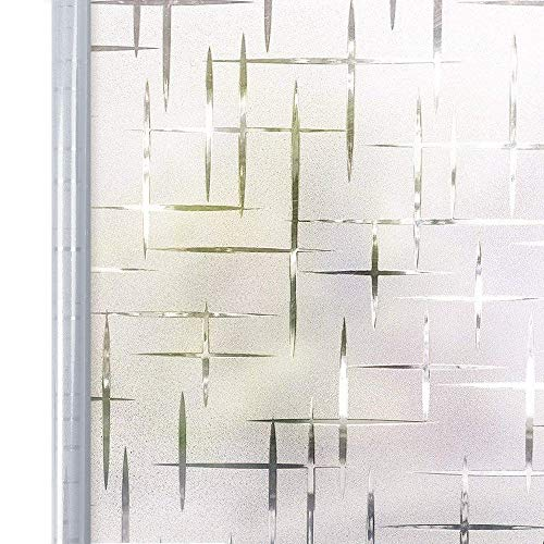 Homein Fensterfolie Selbsthaftend 44,5x200 cm, Selbstklebend Milchglasfolie Bad Folie für Duschkabine Milchglas Blickdicht Sichtschutzfolie Statisch Haftend Glastüren Badfenster Sterne Kreuz