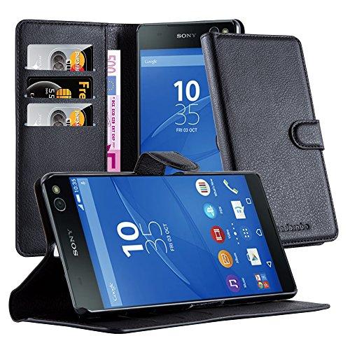 Cadorabo Hülle für Sony Xperia C5 in Phantom SCHWARZ - Handyhülle mit Magnetverschluss, Standfunktion & Kartenfach - Hülle Cover Schutzhülle Etui Tasche Book Klapp Style