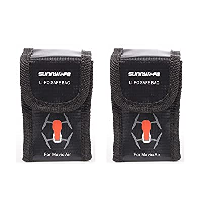 Kingwon Portable Battery Protection Bag for DJI Mavic Air,Drone Batteries Accessories Explosion-proof Safe Storage Bag,Pack of 2