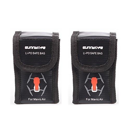 KINGWON Lipo Akku Tasche Batterie Schutz Tasche für DJI Mavic Air, Drohne Batterien Zubehör Feuerfest Safe Storage Bag (2 Stück)