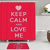 MIMUTI シャワーカーテン バスマット 2点セット 落ち着いて愛してください聖バレンタインの日のテーマロマンチックなカップルのデザインのための愛のフレーズ 自家 寮用 ホテル 間仕切り 浴室 バスルーム 風呂カーテン 足ふきマット 遮光 防水 おしゃれ 12個リング付き