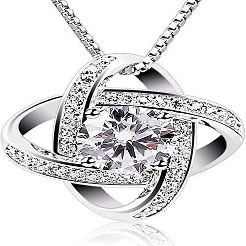 NHGF Women Necklaces Sterling Silver Cubic Zirconia Pendant Gemini Necklace
