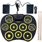 GOHHK Kit batería electrónica para niños, batería electrónica portátil Niños Adultos Principiantes Comenzando a Practicar Tocando batería Jazz Instrumentos Musicales para niños Regalos cumpleaños
