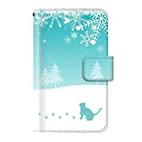 雪 結晶 冬 トナカイ(手帳型)【06.スノーキャット】/ iPhone7 手帳型ケース カバー アイフォン