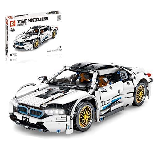 Coche Deportivo técnico para BMW I8, Conjunto de Edificios, 1200 Bloques de Carreras de Supercar - Compatible con Lego Technic (1270pcs)
